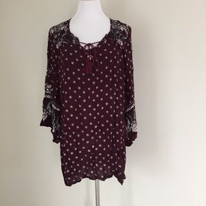 Angie bohemian maroon floral tunic top
